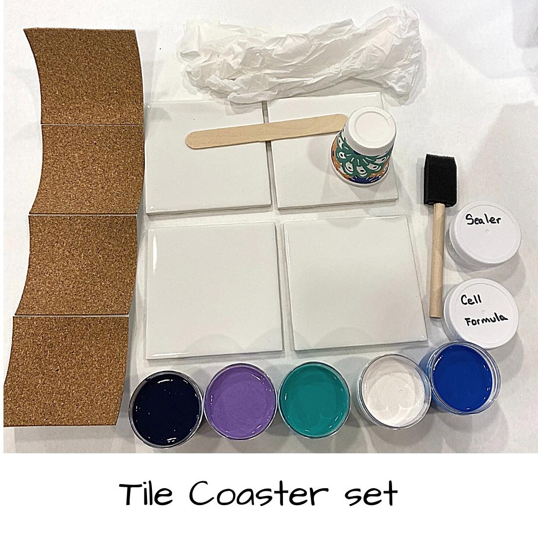 Acrylic Pour Tile Coaster Set Kit